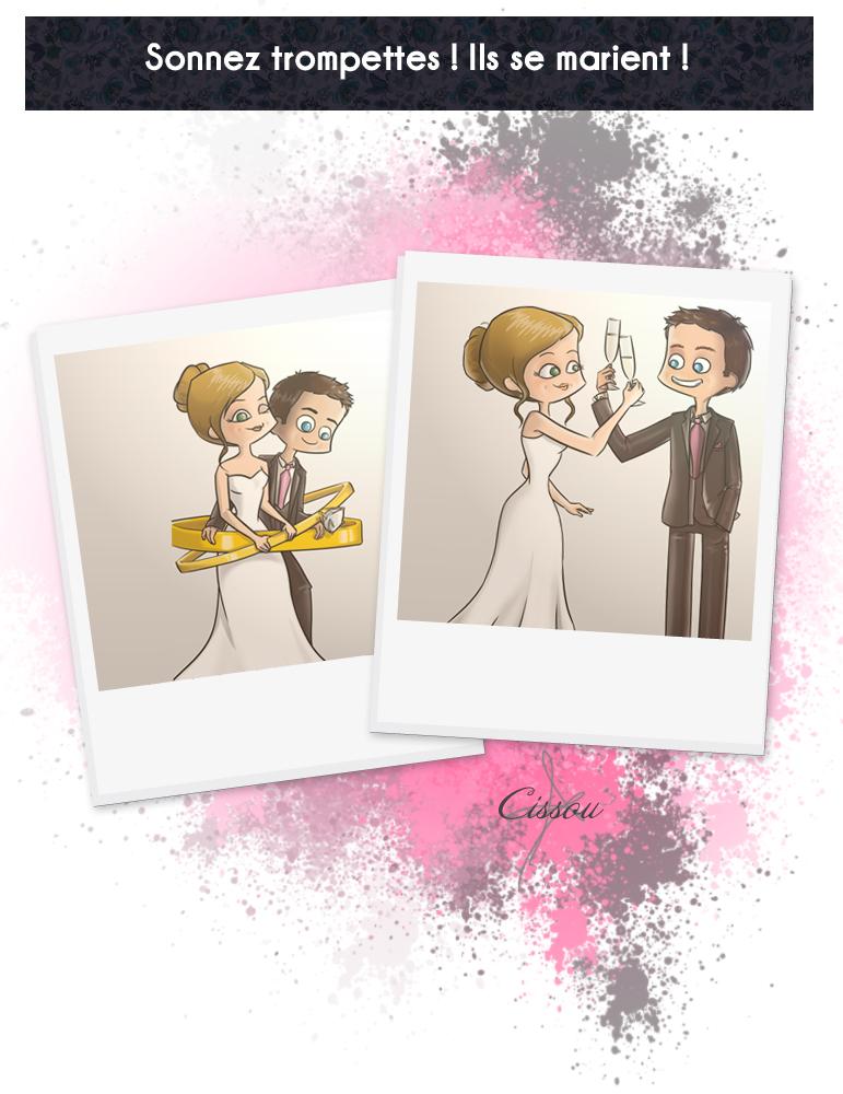Illustrations du faire-part de mariage d'Ann et Tom