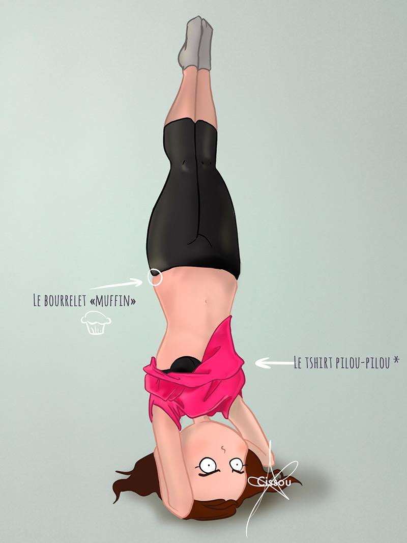 yoga headstand tishirt trop large