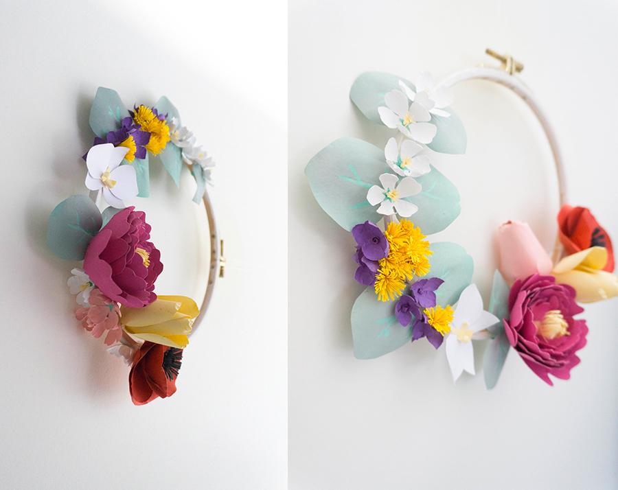 couronne florale en papier, vues de côté